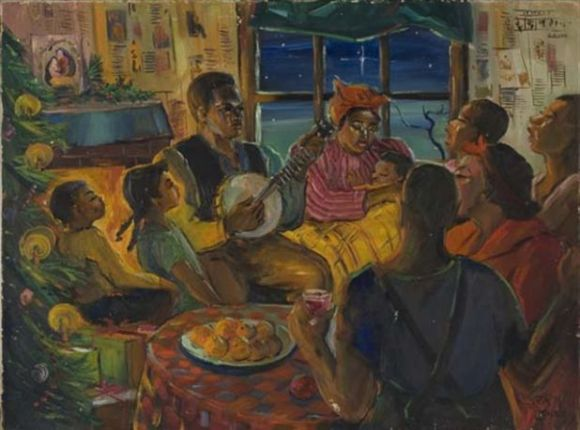 Lois Mailou Jones, Untitled (Christmas family gathering). ca. 1950–1955. 45.5 x 60 cm. oil on canvasboard.