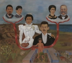 Frida Kahlo, My Grandparents, My Parents, and I (Family Tree), 1936, oil and tempera on zinc, 30.7 x 34.5 cm, MOMA, NY.     © 2017 Banco de México Diego Rivera Frida Kahlo Museums Trust, Mexico, D.F. / Artists Rights Society (ARS), New York.