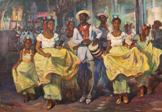 Oscar García Rivera, Comparsa (Carnival Parade), c. 1940. Courtesy Juan A. Martínez and the Vero Beach Museum of Art.